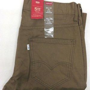 Levi's Men's 511 Slim Fit Trouser Brown Jean 30x30